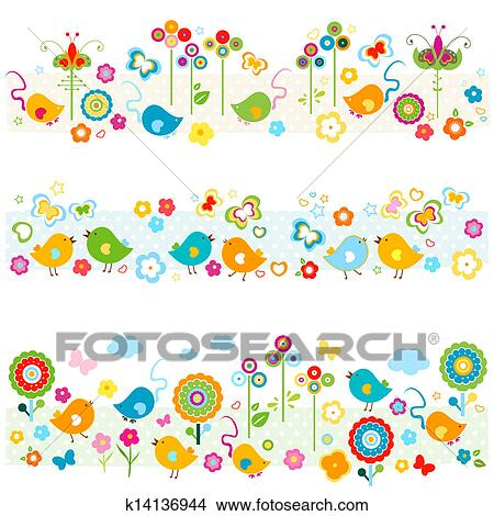 clipart of cute nature borders with colorful elements k14136944