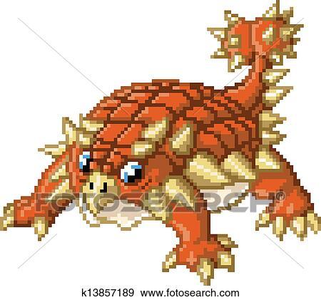Cute Pixel Art Ankylosaurus Dinosau Clip Art K13857189