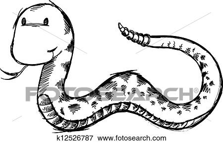 Clip Art Of Cute Snake Sketch Doodle Vector Art K12526787