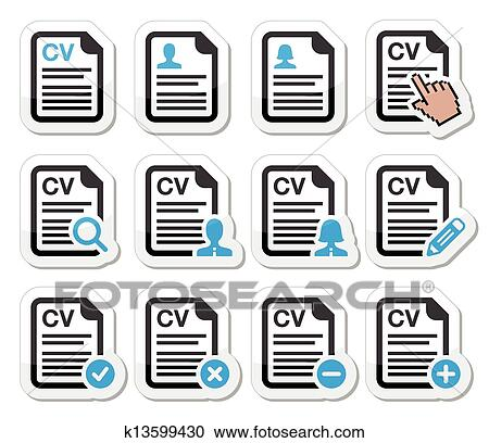 Clipart Of Cv Curriculum Vitae Resume Icons K13599430 Search