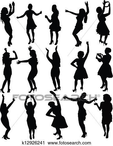 Danseuses silhouette vecteur clipart k12926241 - Dessin anime danseuse ...