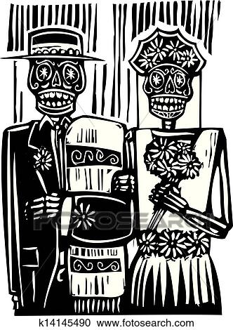 Clipart Day Of The Dead Wedding Fotosearch Search Clip Art Ilration Murals