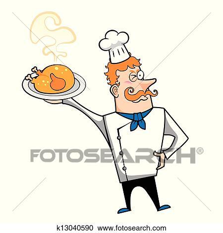 Dessin anim chef cuistot poulet r ti clipart k13040590 fotosearch - Dessin de poulet roti ...