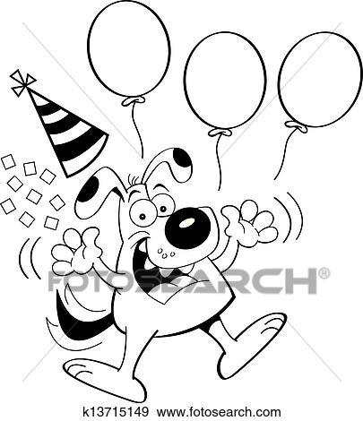Clipart Dessin Animé Chien Sauter à Ballons K13715149