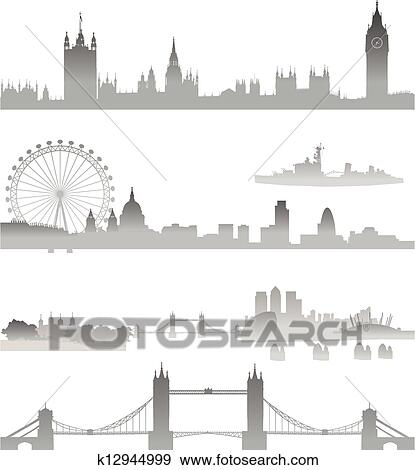 Clip Art Of Detailed London Skyline Silhouette K12944999