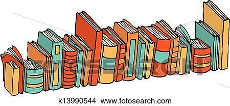 Different Debout Livres Bibliotheque Pile Clipart