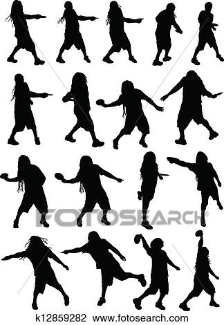 Clipart Of Disc Golf Silhouettes K12859282 Search Clip Art