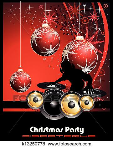Christmas Party Flyer.Disco Party Flyer Background For Christmas Clip Art