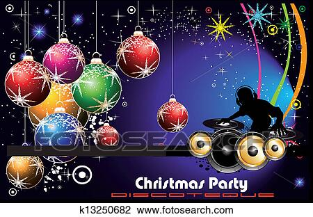Christmas Disco Clipart.Disco Party Flyer Background For Christmas Clipart