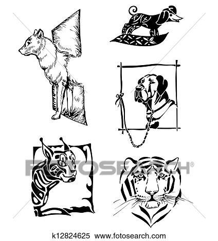 Disegni Di Animali Cani E Gatti Selvaggi Clipart K12824625