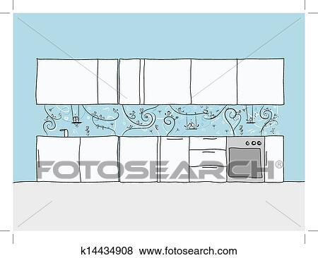 Clip Art - disegno, di, cucina, parete, con, divertente, uccelli, e ...