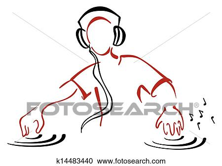 Clipart Of Dj Behind Console K14483440 Search Clip Art