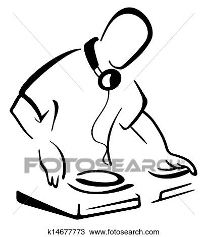 Clipart Of Dj Behind Console K14677773 Search Clip Art