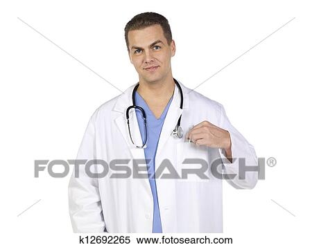 Stock Image of doctor in his medical dressing gown k12692265 ...