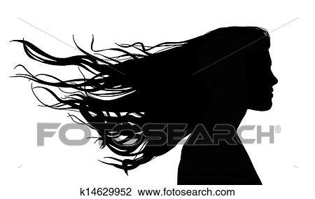 Donna, con, capelli lunghi, vento Disegno   k14629952 ...