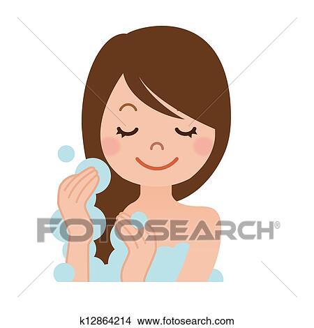 Donna, lavaggio, lei, capelli, con, shampoo Archivio ...