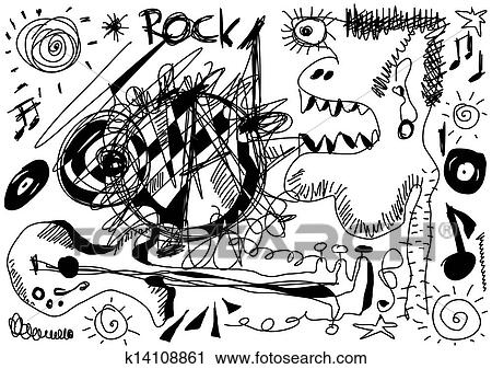Clipart Of Doodle Crazy Rock Music Background K14108861 Search