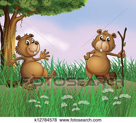 Due castori gioco in il foresta clip art k fotosearch