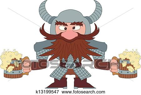 Dwarf With Beer Mugs Clip Art K13199547 Fotosearch