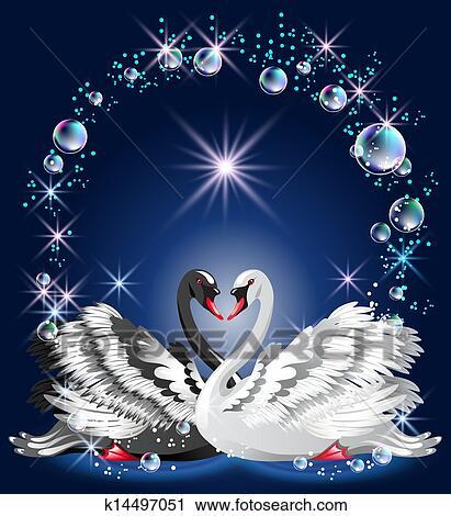 Clipart elegante wei und schwarzer schwan k14497051 for Elegante wandbilder