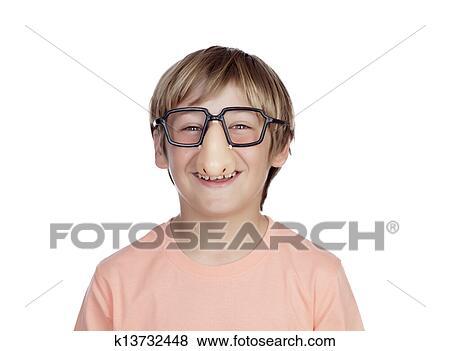 fdc323285 Engraçado, menino, com, óculos, disfarce Banco de Imagem | k13732448 ...
