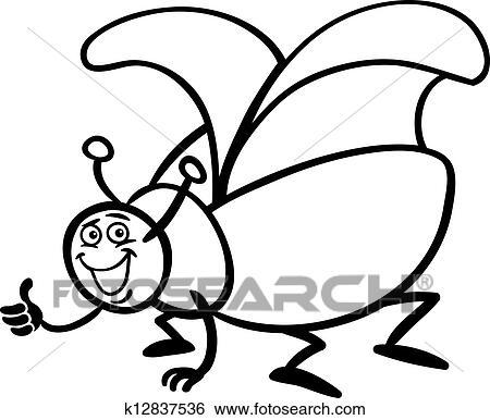 Clip Art - escarabajo, insecto, caricatura, para, colorido k12837536 ...