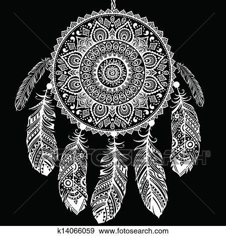 Clip Art Of Ethnic Dream Catcher K14066059