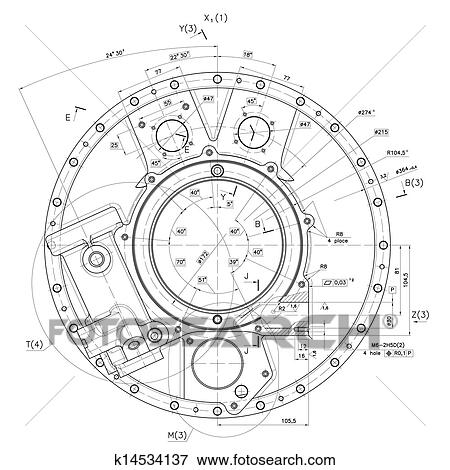 Stock illustration of example of industry document blueprint design drawings of cover nonexistent internal combustion engine malvernweather Choice Image