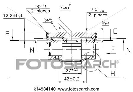 Stock illustrations of example of industry document blueprint design drawings of nonexistent internal combustion engine piston clipping path malvernweather Gallery