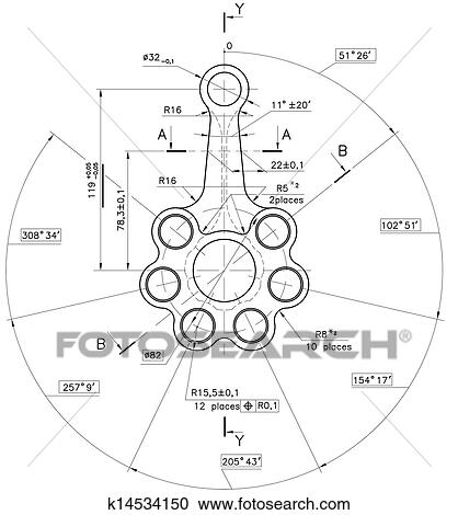 Stock illustrations of example of industry document blueprint design drawings of nonexistent piston rod with clipping path malvernweather Choice Image