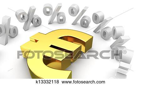 Golden Euro Symbol Surrounded By Percentage Symbols
