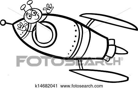 Clipart - extranjero, en, cohete, caricatura, colorido, página ...