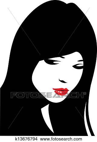 Clipart Facile Visage Femme à Lèvres Rouges Et Cheveux Noirs