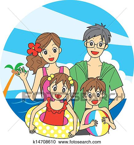 Family At The Beach Clipart K14708610 Fotosearch
