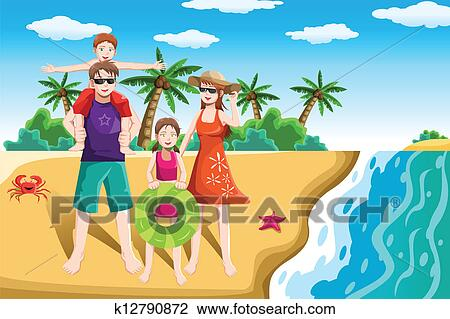 A Vector Illustration Of Happy Family Going To The Beach For Vacation