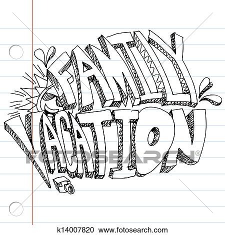 An Image Of A Family Vacation Message Drawing On Notebook Paper
