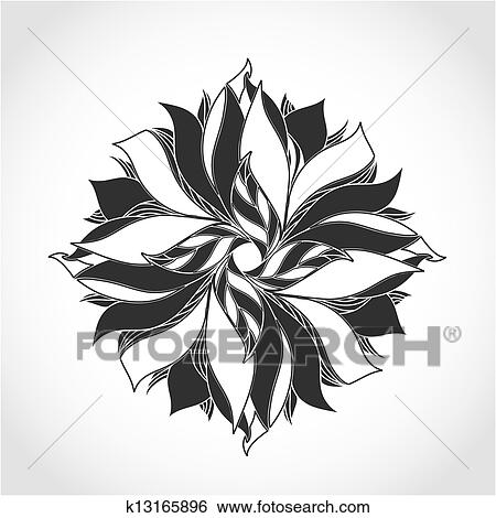 Clipart Fantasme Fleur Noir Blanc Tatouage Modele K13165896
