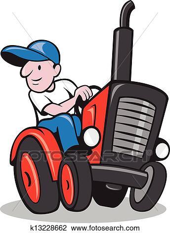 Klipart Farmar Driving Vinobranie Traktor Kresleny Film