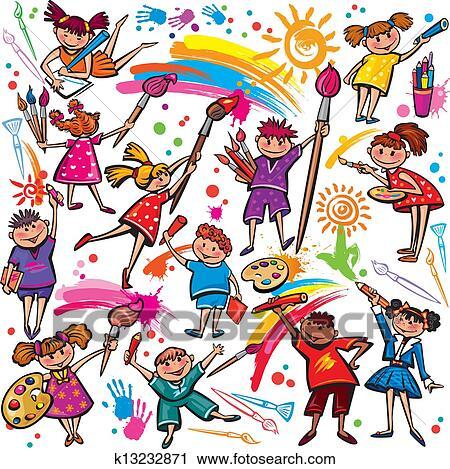 Feliz Criancas Desenho Com Escova E Coloridos Creions