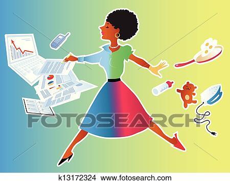 foto de Clipart femme équilibrage travail famille k13172324