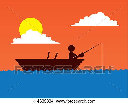 Fishing Boat Silhouette Clipart K14683384 Fotosearch
