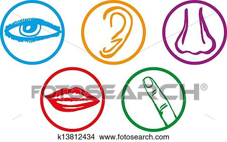 clipart of five senses icon set vector illustration k13812434 rh fotosearch com five senses clipart five senses clipart images