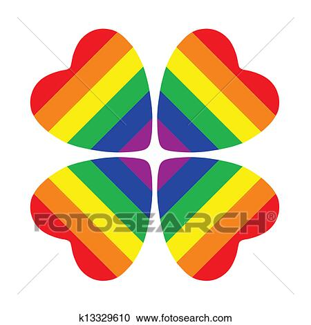 Stock photography of flower made from four hearts with gay pride flower made from four hearts with gay pride flag inside isolated on white background mightylinksfo