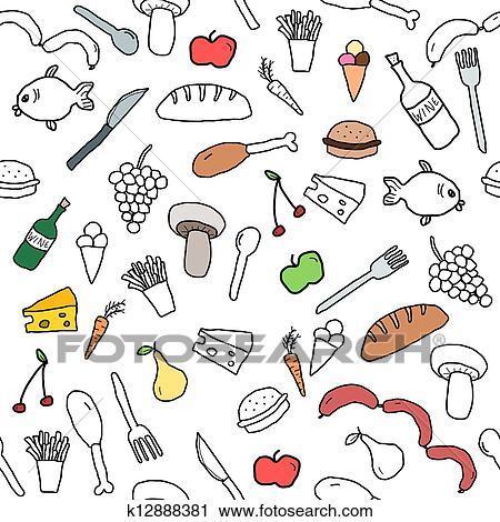 Cuisine Illustration clipart of food background k12888381 - search clip art, illustration