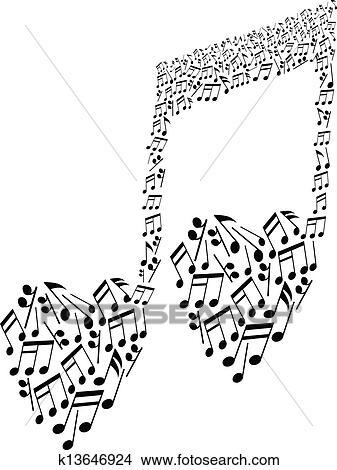 Clipart Forma Corazón Notas Musicales Patrón K13646924 Buscar