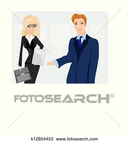 Clipart Of Formally Dressed People In Office Business Meeting