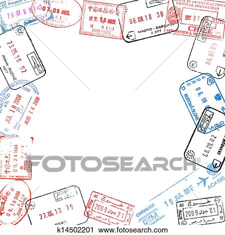 Stock Photography of frame from passport visa stamps k14502201 ...