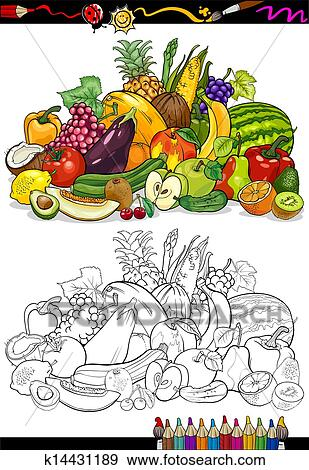 Fruits And Vegetables For Coloring Book Clip Art