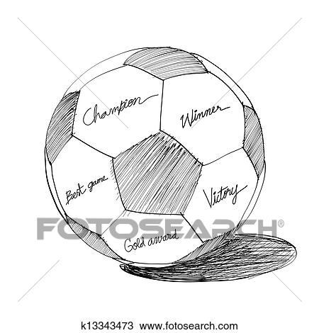 Fussball Ball Hand Gezeichnet Clipart K13343473 Fotosearch