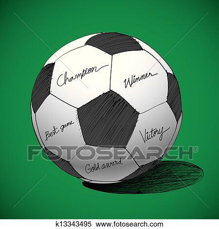 Fussball Ball Hand Gezeichnet Clipart K13343495 Fotosearch